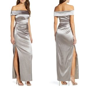 Vince Camuto Off the Shoulder Satin Slit Gown 12